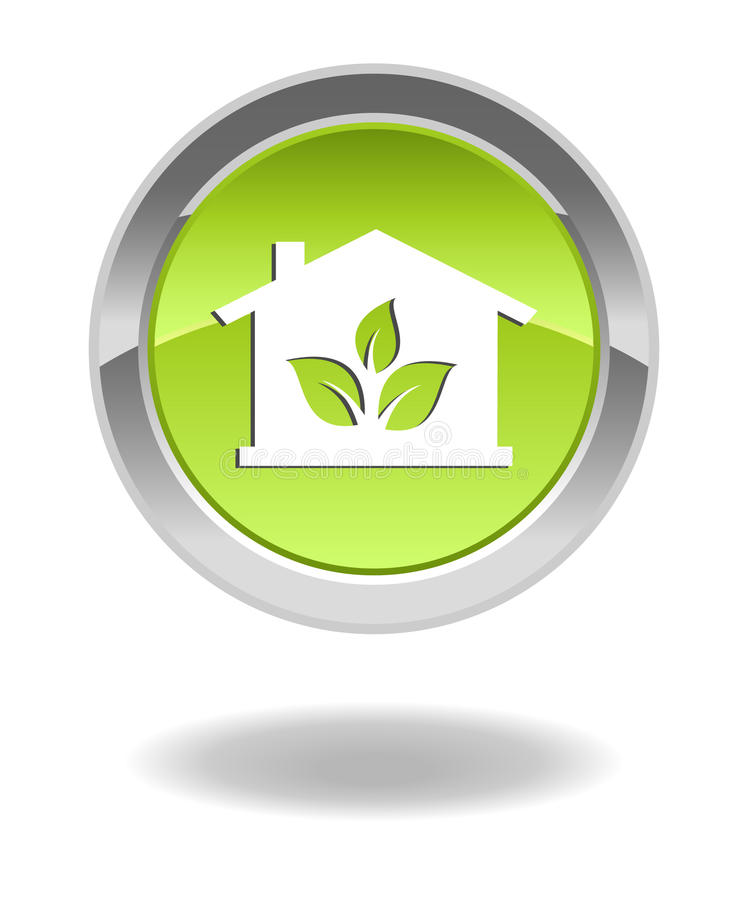 Green eco house glossy button vector illustration