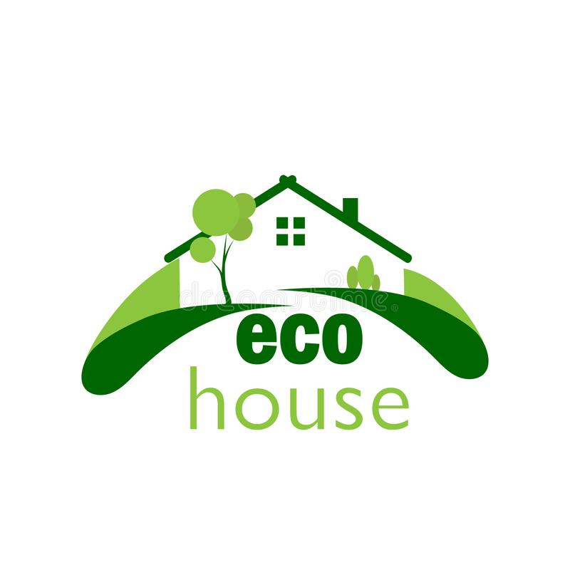 Green eco house on a green lawn, color logo. Color logo of a green ecological house on a green lawn royalty free illustration