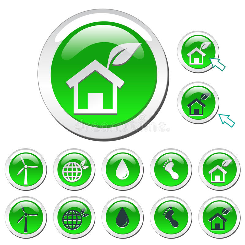 Green Eco Icons royalty free stock images