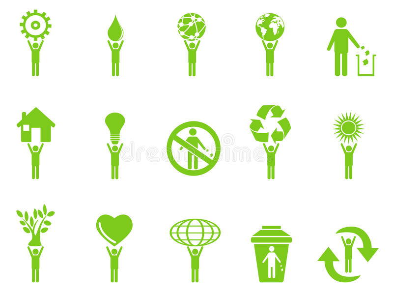 Green eco icons stick figures series royalty free illustration