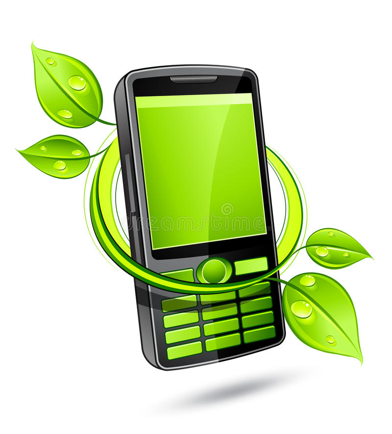 Download Green eco mobile telephone stock vector. Image of closeup - 14674390