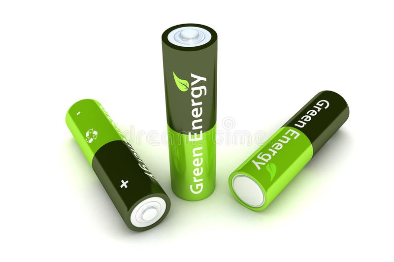 Green Eco Power Batteries royalty free illustration