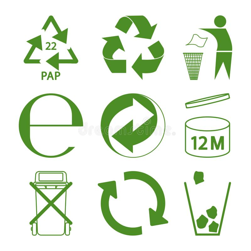 Green eco recycle and packaging sign set royalty free illustration