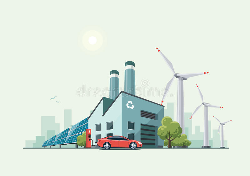 Green Eco Recycling Factory stock illustration
