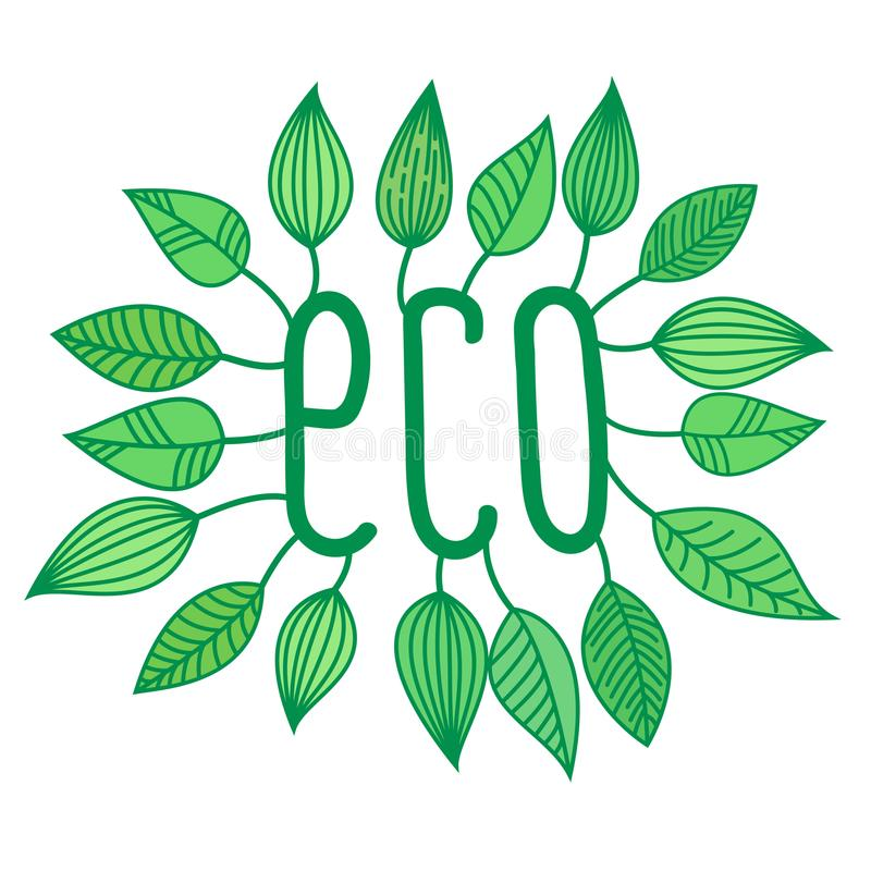 Green eco sign in with growing leaves, vector label and tag, ecological concept sticker. Letters vector illustration