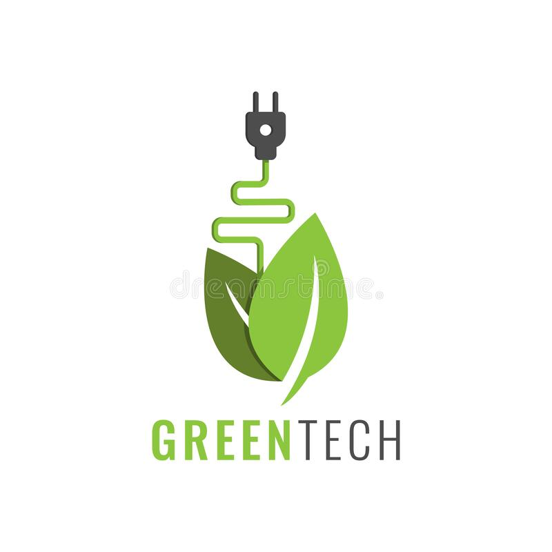 Green eco technology logo vector design. Green nature technology logo with electric plug and leaf icon vector royalty free illustration