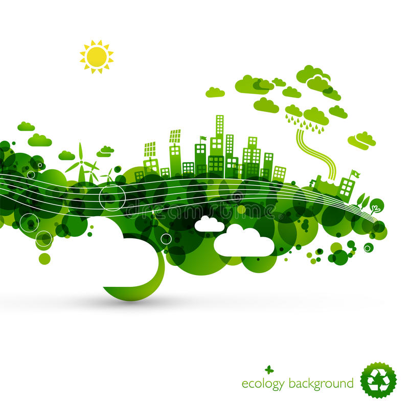 Download Green eco town stock vector. Illustration of city, gradient - 21606986