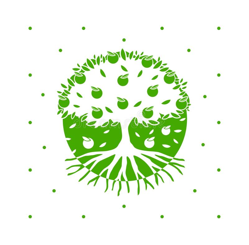 Tree Roots Logo.Green Vector Apple Tree With Roots. Green Eco Vector tree with apples and roots in a circle with polka dots . Ecology, logo, print stock illustration