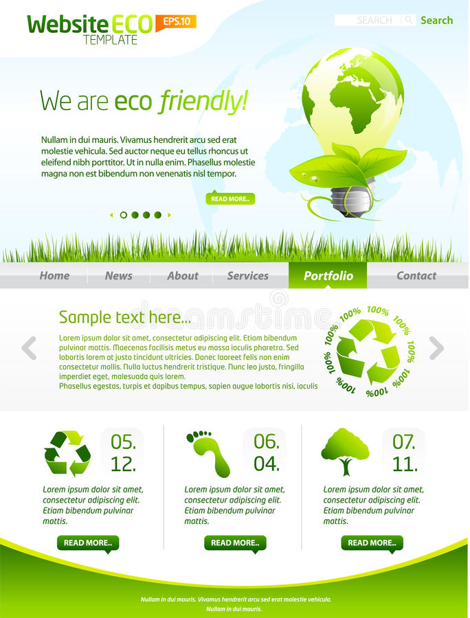 Green Eco Vector Website Template With Lighbulb Royalty Free Stock Images