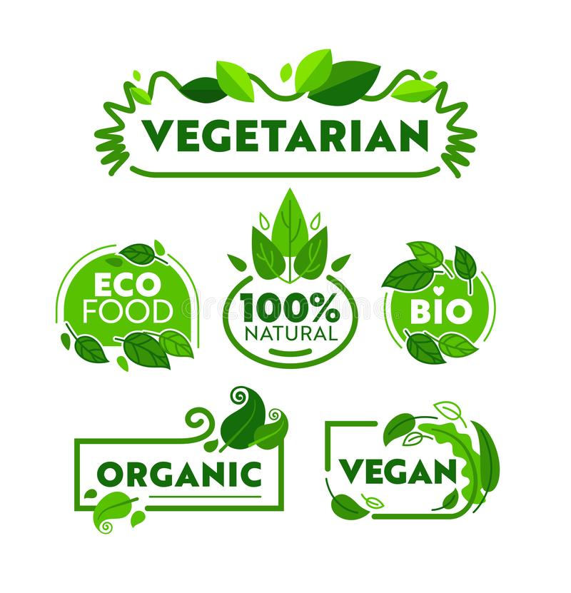 Green Eco Vegetarian Organic Food Icon Banner Set. Vegan Bio Nature Shop Badge Collection for Ecology Healthcare royalty free illustration