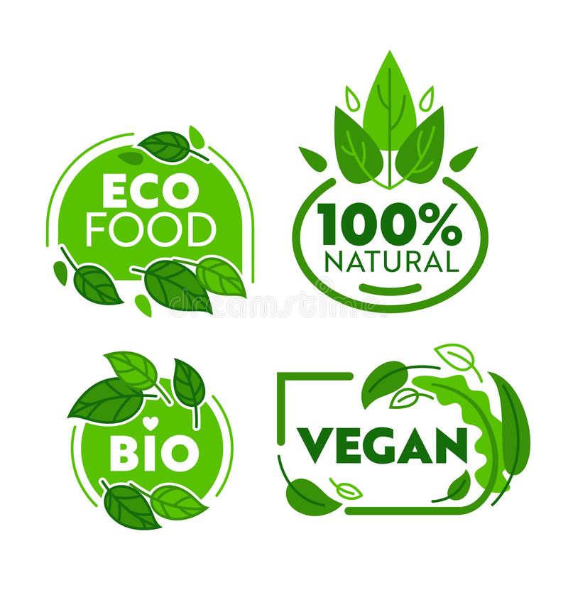 Green Eco Vegetarian Organic Food Sticker Set. Vegan Bio Shop Badge Collection for Natural Healthcare Lifestyle Wellness vector illustration