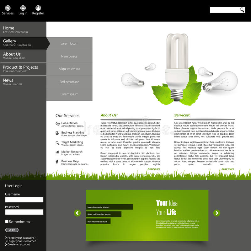 Green Eco Website Layout Template Stock Vector - Illustration of ...