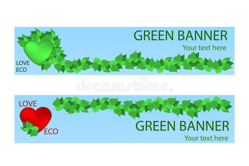 Green ecological banner with green leaves and hart vector illustration