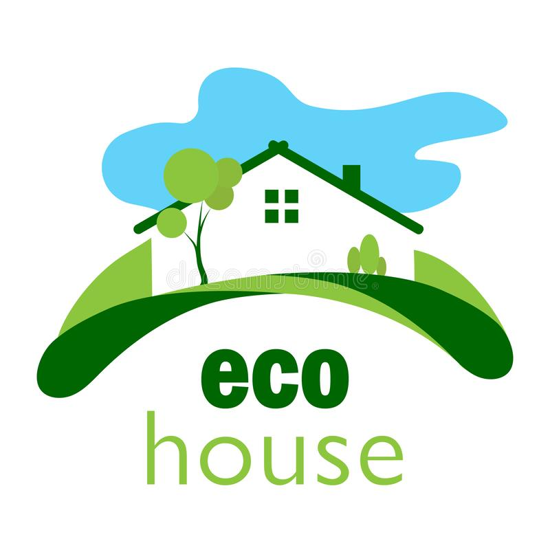 Green ecological house on a green lawn on a background of blue c. Color logo of a green ecological house on a green lawn against a blue cloud stock illustration