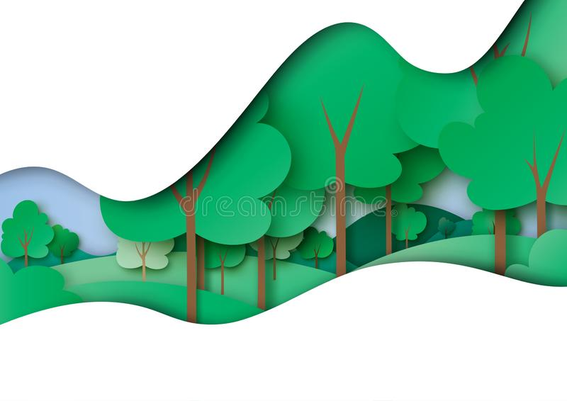 Green forest and nature landscape background paper art style. Green ecology and environment concept with nature forest landscape paper art abstract background vector illustration