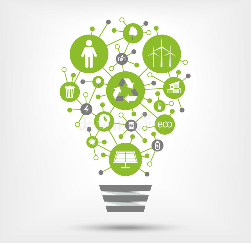 Green, ecology and environment icons in light bulb. Vector illustration royalty free illustration