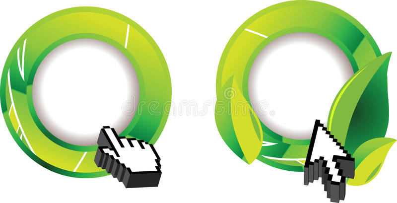 Green Ecology Glossy Ring And Two Cursor. Green Ecology Glossy Ring And Two Computer Cursor vector illustration