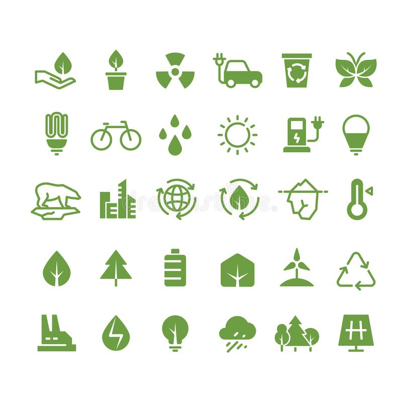 Green ecology vector icons. Clean environment, recycling process and renewable energy pictograms stock illustration