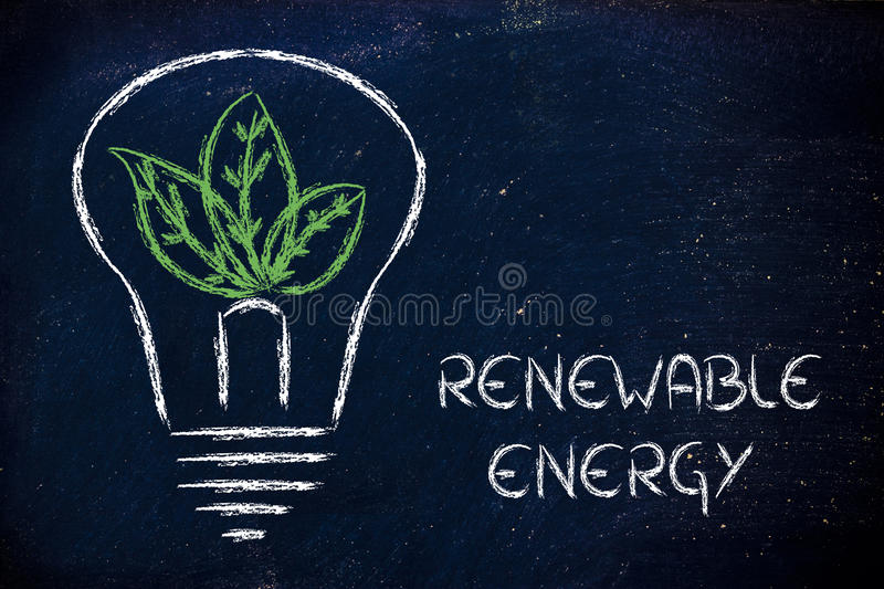 Green economy, leaves growing around an idea royalty free stock images