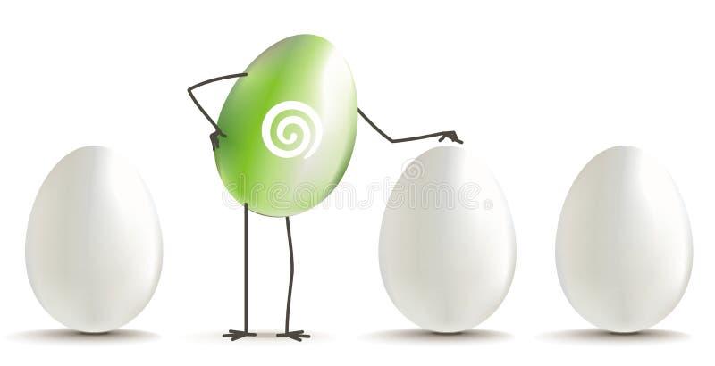 Green egg among white eggs vector illustration
