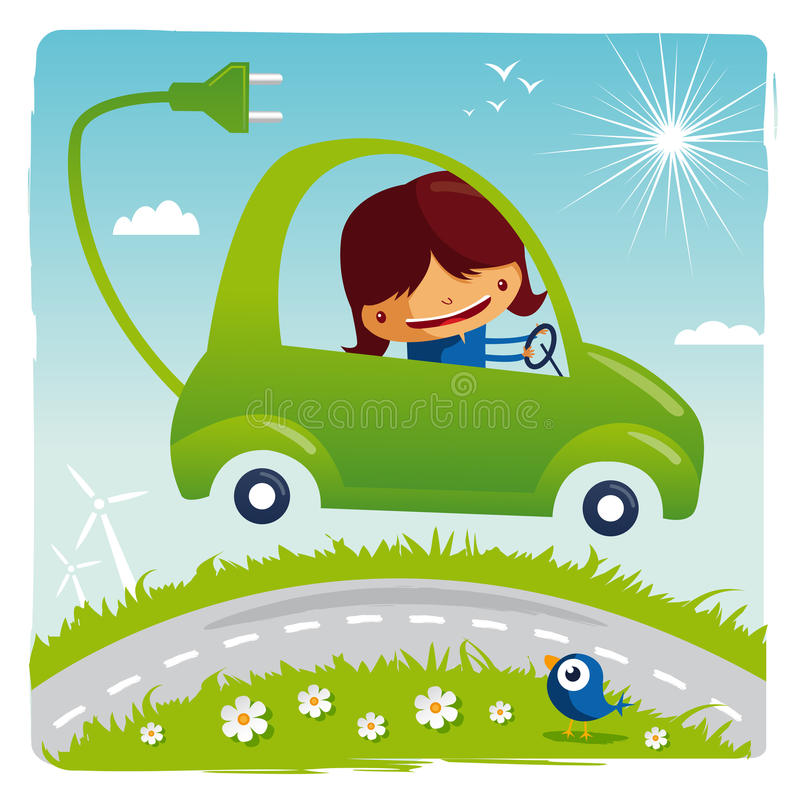 Green electric car stock illustration