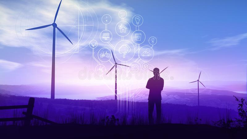 Green electricity and Infographics of the Future Ecology stock images