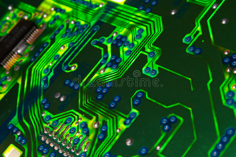 Green electronic board stock images