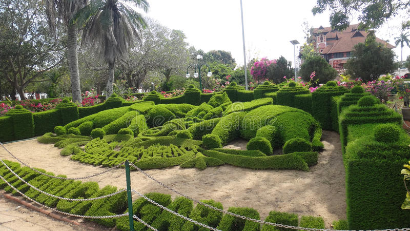 Green elephants. Landscape gardening art. Trivandrum. Kerala. India stock images