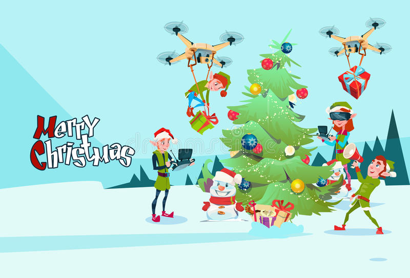 Green elf group decoration christmas tree with drone wear virtual download green elf group decoration christmas tree with drone wear virtual reality glasses new year greeting m4hsunfo Image collections