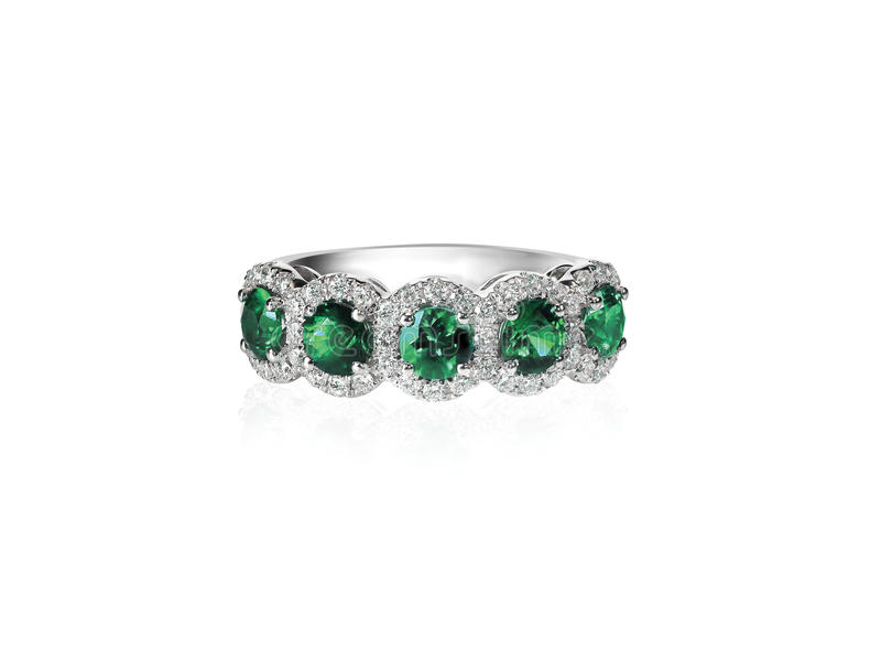 Green emerald anniversary band ring stock image image of valentine