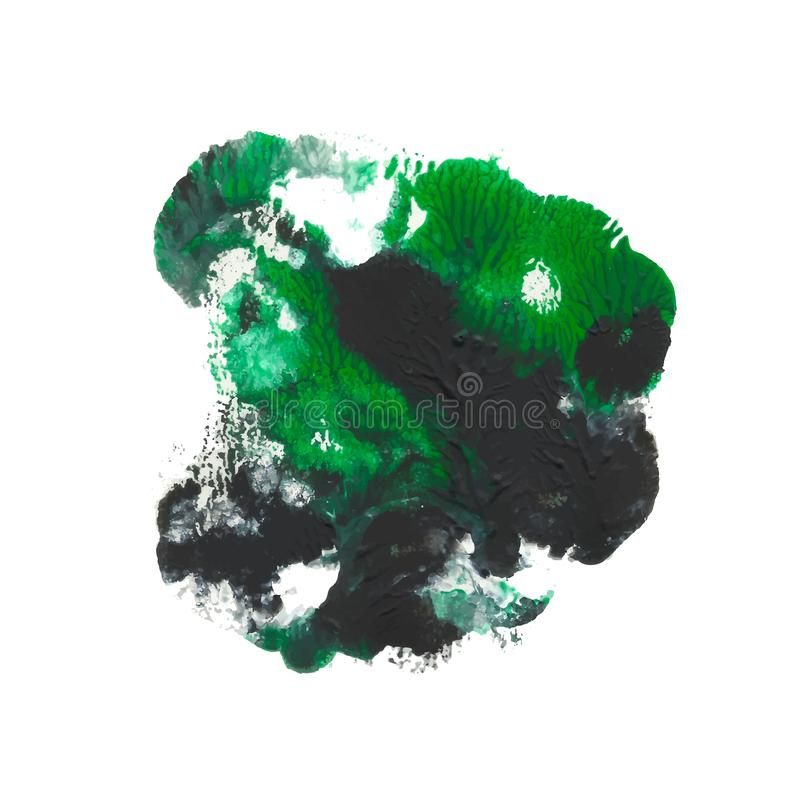 Green, emerald, black acrylic paint abstract monotyped floral spot royalty free illustration