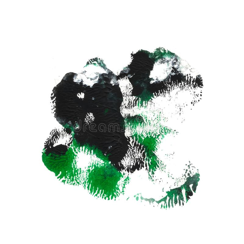 Green, emerald, black acrylic paint abstract monotyped spot vector illustration