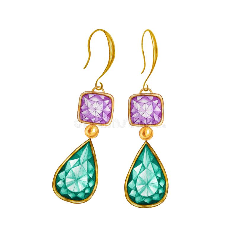 Green emerald drop crystal and purple square with gold element. Beautiful jewelry set. Watercolor drawing Golden vector illustration