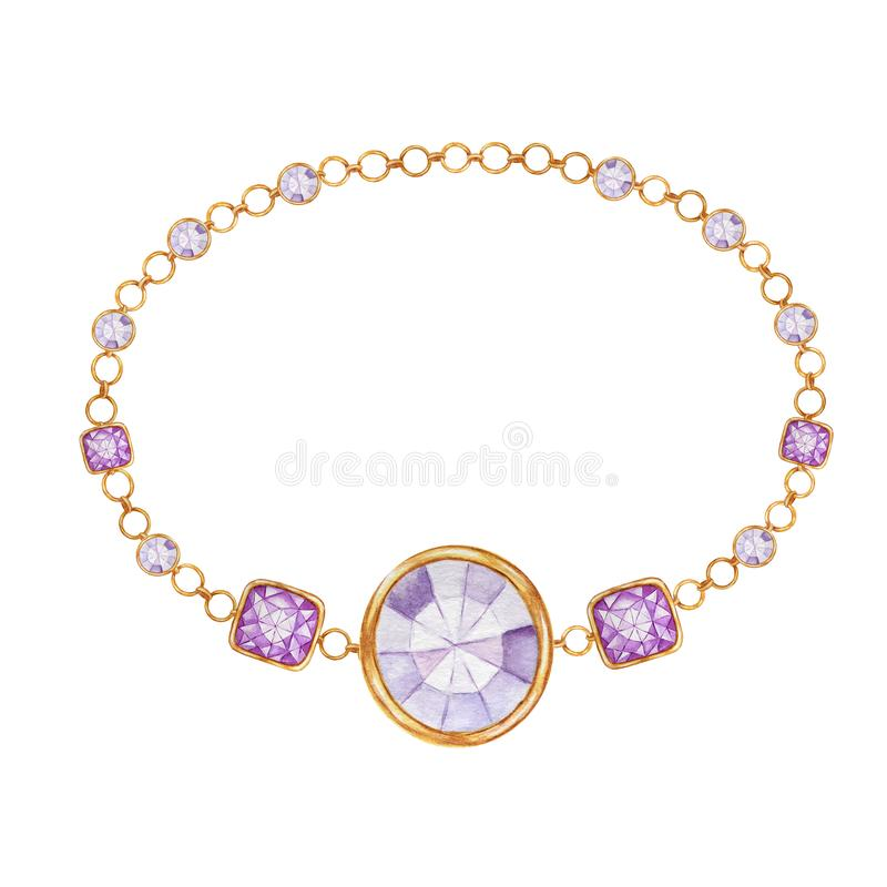 Purple square and round crystal gemstone with gold element. Beautiful jewelry bracelet. Watercolor drawing bracelete vector illustration