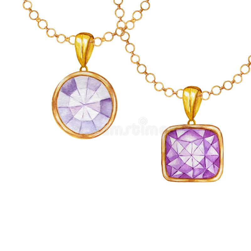 Purple square and round crystal gemstone with gold element. Watercolor drawing two Pendant with crystals on golden chain royalty free illustration