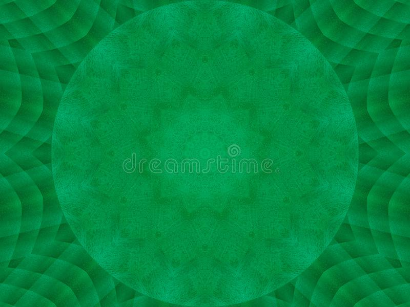 Green emerald metal texture kaleidoscope pattern abstract round background. Abstract kaleidoscope texture background. Metal kaleid vector illustration