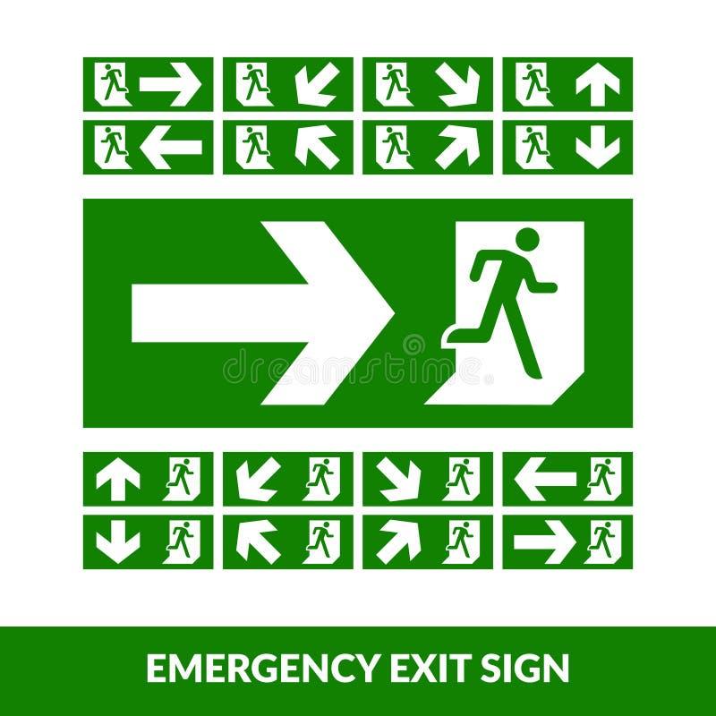 Green emergency exit door sign. Fire evaluation sign. public signage vector illustration