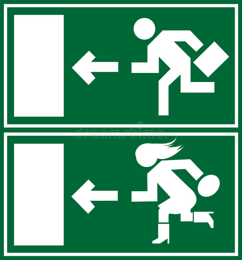 Green emergency exit sign, icon and symbol vector illustration