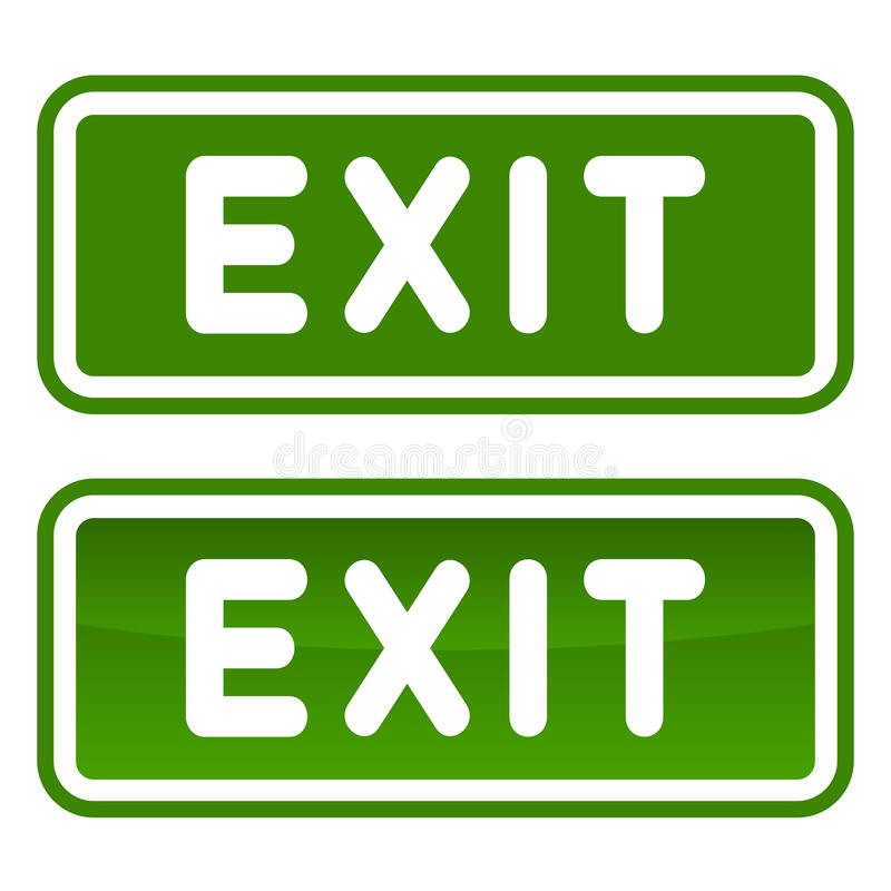 Green Emergency Exit Sign Set on White Background. Vector vector illustration