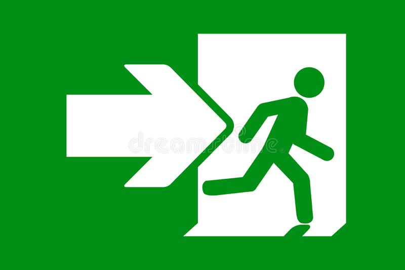 Green emergency exit sign vector illustration