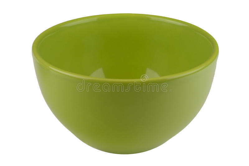 Green empty bowl isolated on white royalty free stock photography