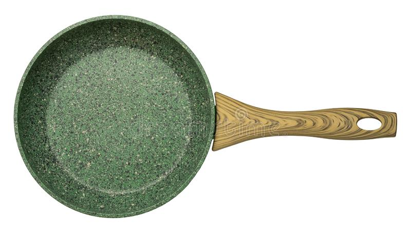 Green empty nonstick stone crumb surface frying pan stock images