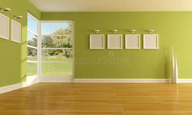 Green empty room stock image
