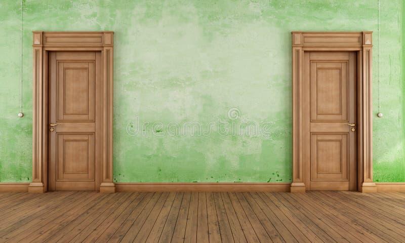 Download Green empty vintage room stock illustration. Illustration of doorway - 27286671