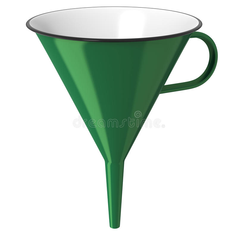 Green enamel funnel stock images