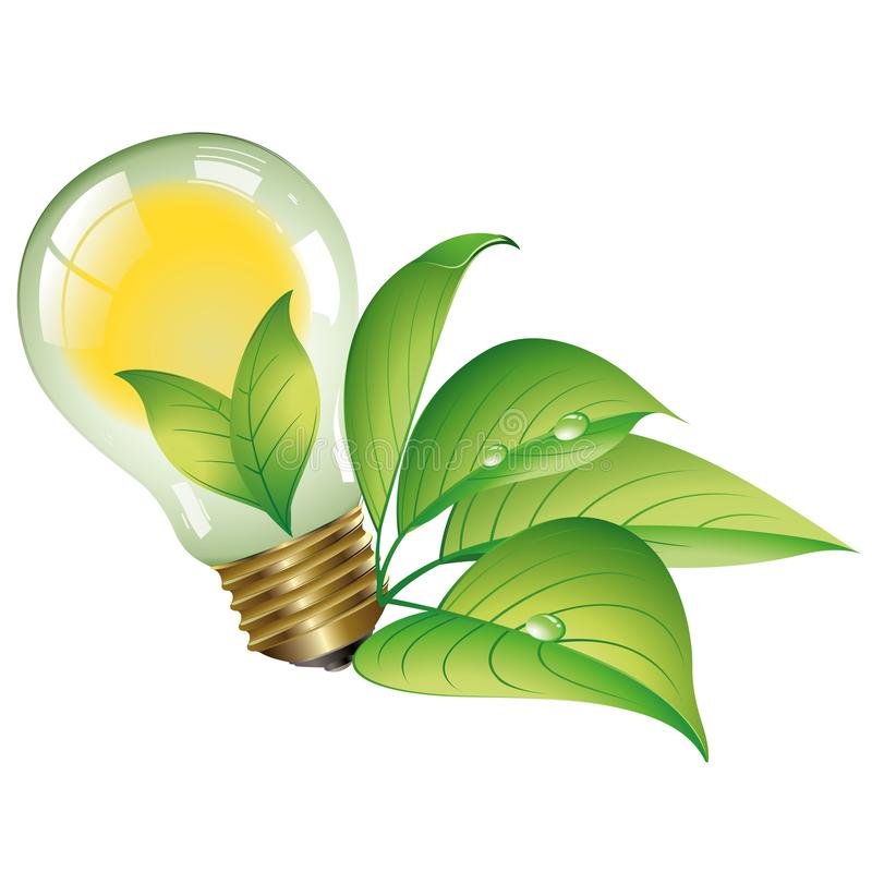 Green energy - Ecological concept - Eco collection Logo. Green energies. Light bulb with green elements royalty free illustration