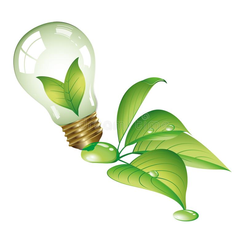 Green energy - Ecological concept - Eco collection Logo. Green energies. Light bulb with green elements stock illustration