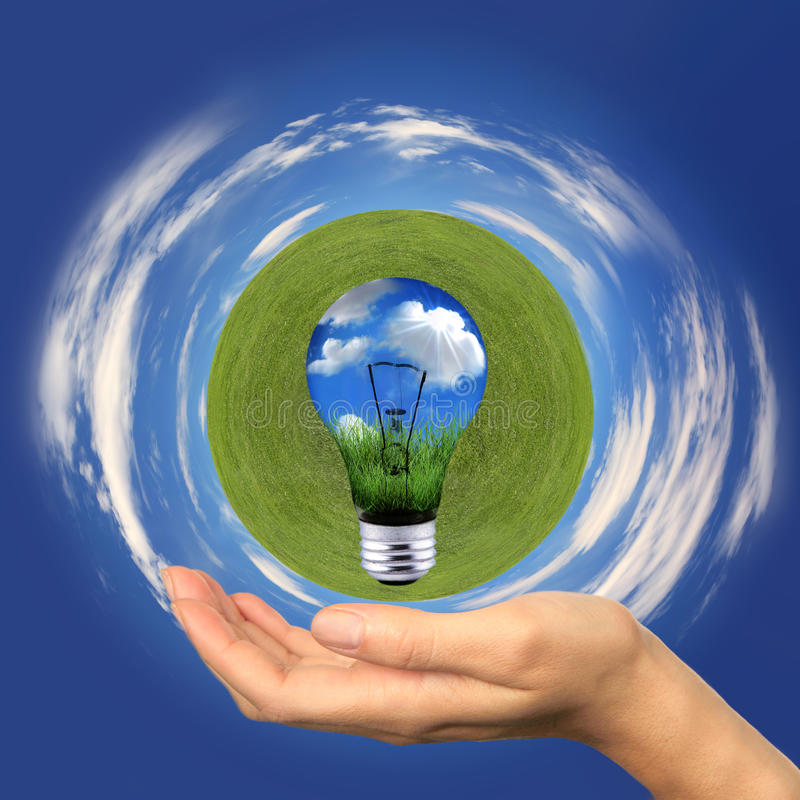 Green Energy With Clouds And Grass Globe Royalty Free Stock Photos