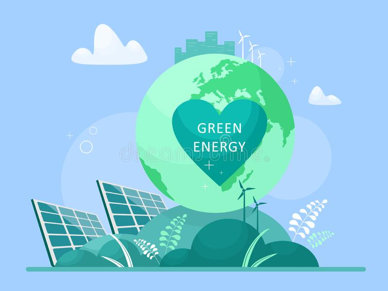 Green energy concept, alternative energy sources. Save the planet - use clean energy. Natural protection for lifestyle health. Vec. Green energy concept royalty free illustration