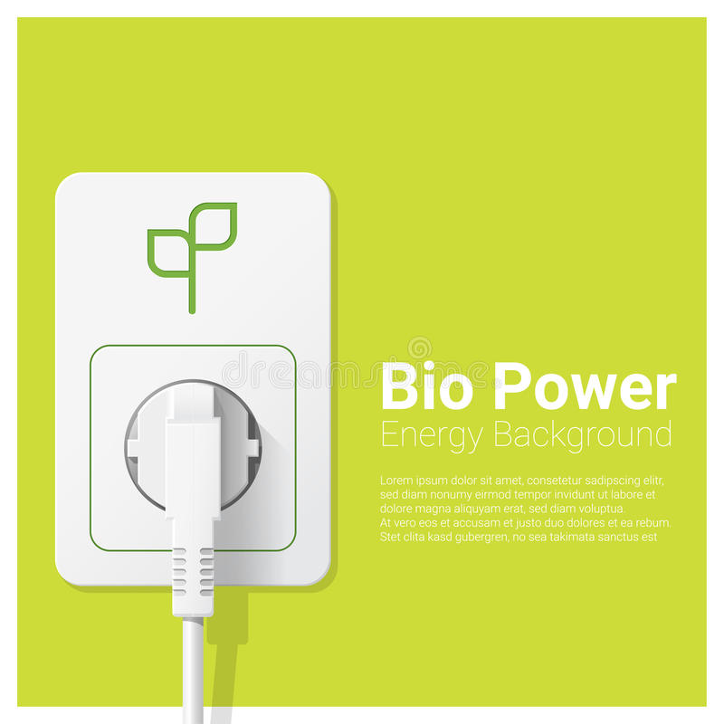 Green energy concept background with bio power and electric plug. Vector , illustration stock illustration